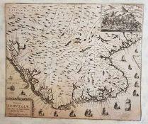 Regni Norvegiae nova et Accurata descriptio , Kupferstich 18. Jahrhundert, Größe: 39,2 x 33,2 cm