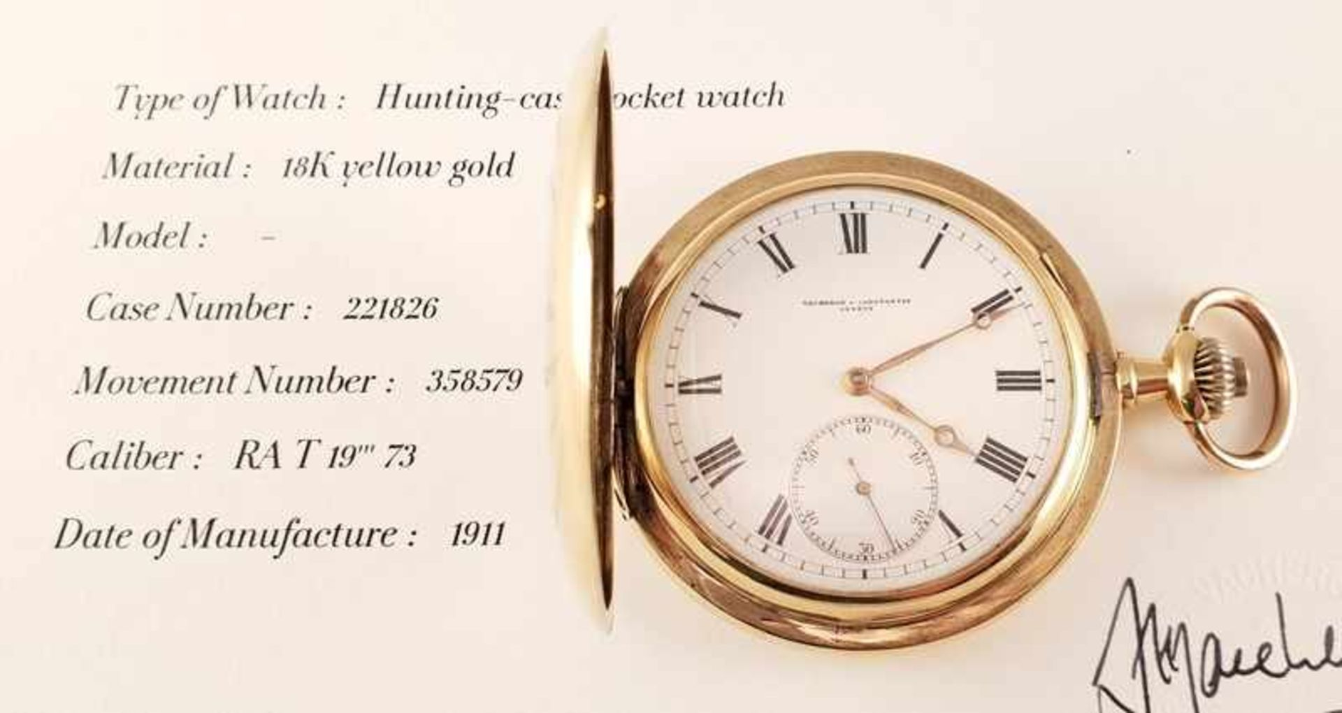 Vacheron Constantin ,Taschenuhr , Gold 750, Gehäusenr.: 221826, Werknr.: 358579 , 1911 , Cal: RA T