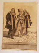 Personen, Kupferstich , 18.Jahrhundert , Größe: 13,7 x 19cm , mitte min. einriss