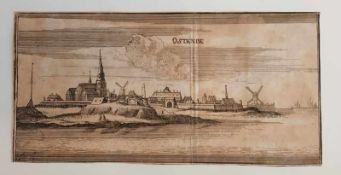 Ostende , Kupferstich, 18.Jahrhundert , Größe: 21,2 x 10,6 cm