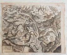 Schloss und Festung Susa , wie solche Sept. 1707 erobert worden , Kupferstich 18.Jahrhundert, Größe: