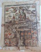 S.Maria DaLoreto ,Holzschnitt auf Bütten , 18.Jahrhundert, Größe: 34,5 x45cm , stark beschädigt