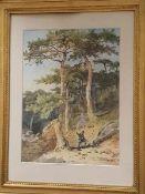 Anton Altmann d.J (4 Juni 1808- 9.Juli 1871), Waldlandschaft mit Jäger, Aquarell auf Papier ,
