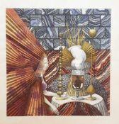 Wolfgang Hutter (1928-2014) , Radierung in Farbe signiert, 111/200 , gerahmt ohne Glas , Größe