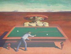 """Rudolf Hausner, (Wien 1914-1995) """"Ein starker Gegner"""" ,1984 , druckgrafische Mischtechnik ,"""