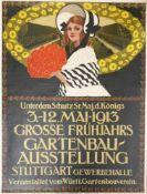 Altes Ausstellungsplakat, Grosse Frühjahrs Gartenbau Ausstellung Stuttgart, 1913, Größe: ca. 80x60cm