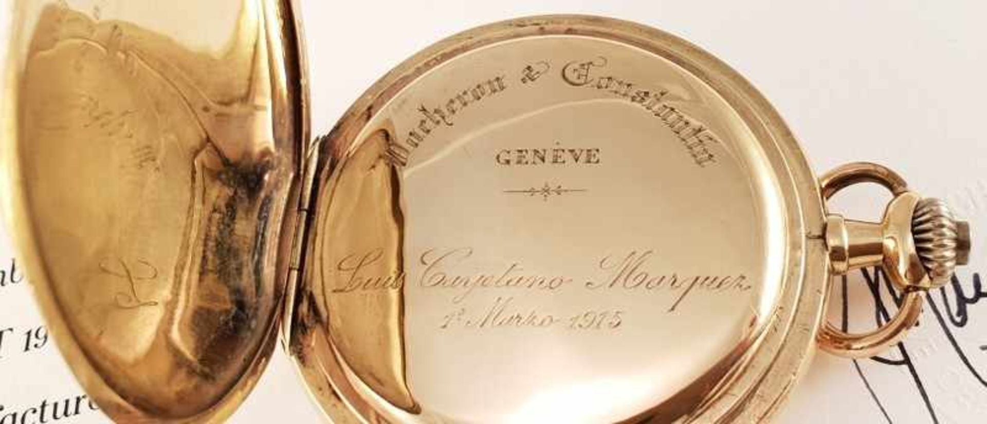Vacheron Constantin ,Taschenuhr , Gold 750, Gehäusenr.: 221826, Werknr.: 358579 , 1911 , Cal: RA T - Bild 3 aus 4
