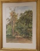 Anton Altmann d.J. (4 Juni 1808- 9. Juli 1871), Waldlandschaft mit Spaziergängern, Aquarell auf