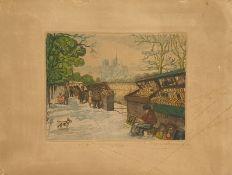Joseph Victor Roux-Champion (Chaumont 1871-1953 Vars) , kolorierte Radierung, Antiquitätenmarkt an