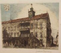Constantin Damianos (Wien 1869- 1953 Graz) , Radierung in Farbe, orignal signiert, Größe mit Rahmen: