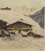 Hans Figura , (Groß Kikinda 1898-1978) , Kitzbüheler Alpen, Radierung in Farbe signiert,