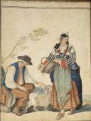 Saverio Della Gatta (1758-1827)zugeschrieben, Elomo und Frau aus der Poesi von Belmonte Provinz di