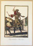 Kaiserlicher Pauker, kolorierte Kupferstich , 18.Jahrhundert, Monogramm: C.L. , Größe: 25x35cm