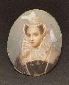 Miniaturportät , Adelige Dame , 19.Jhd., auf Elfenbein, Größe: ca.6x5cm, ,