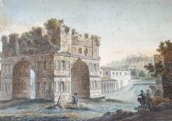 Großes Landschaftsaquarell, Personen vor einer römischen Ruine , 1. Drittel 19.Jhd, Größe :76,5 x 56