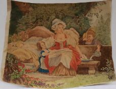 Zeichnung Mutter mit ihren drei Kindern, Braune Feder coloriert, 19 Jh., unsigniert, Maximale Höhe