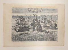 VN VASCELLO TURCHESCO DA GUERRA AFFONDATO, 18.Jahrhundert, Größe: ca. 33,5x24cm