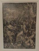 Albrecht Dürer ( Nürnberg 1471-1528 ) , Die Gefangennahme Christi, Holzschnitt aus der grossen