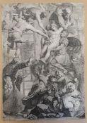 Daniel da Voltera (Toskan 1509-166 Rom ), Kupferstich , Kreuzabnahme Christi , Blattgröße: 40x28cm ,