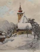 Hans Figura (Wien 1898-1978), Farb Radierung auf Seide, Kirchlein im Winter, rechts unten signiert