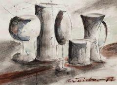Stilleben mit Krügen und Gläsern, Aquarell auf Papier, signiert: Weidner (19)87,