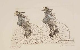 Paul Flora ,Radierung ,Nr.: 114/150 , signiert , Rahmengröße: 25x17,5 cm , Blattgröße: 14x21,5 cm,