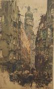 Luigi Kasimir,( Pettau 1881-1962 Wien ) , Radierung in Farbe , Handsigniert, Größe mit Rahmen :