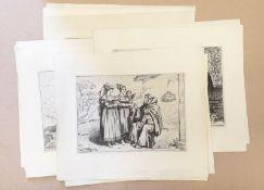 Bartolomeo Pinelli (Rom 1781-1835) , großes Konvolut Radierungen , 42 Stück ,Blattgröße je: 37x31,
