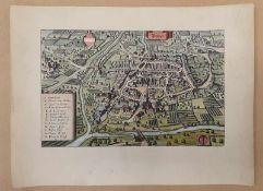 Landkarte Bozen , kolorierter Stich , 19.Jahrhundert, Blattgröße: 40x30cm