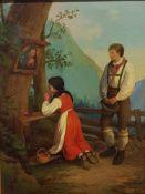 Bäuerliches Paar betend am Bildstock, Öl auf Leinwand, um 1900 , 22x28,5cm , Rahmen Größe: 31,5x38,5