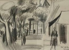 Walter Honeder (Weidlingau-Hadersdorf 1906 - 2006 Innsbruck), Kohlestift auf Papier , Promenade