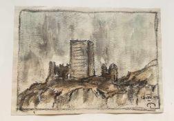 Josef Mahlknecht , (1827-1969), Burgruine , Aquarell auf Papier, signiert u. datiert,Größe: 17x12,