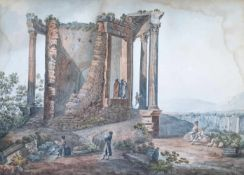 Großes Landschaftsaquarell, Personen vor einer römischen Ruine, 1.Drittel 19.Jhd , Größe:
