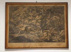 Johann Elias Ridinger, Kupferstich , Die Par Force Jagd eines Hirschen 1756 , Größe:Rahmen: 80x60cm,