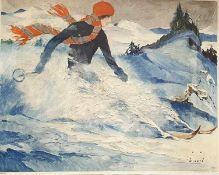 Jupp Wiertz ,Skifahrerin Christiana, Erstdruck Pallas Verrlag, ca. 1930 , gerahmt , Größe mit