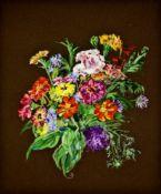 Josefine Schwabik (1917-2014 Innsbruck), Bunter Blumenstrauß , Acryl auf braunem Papier, 57,5x