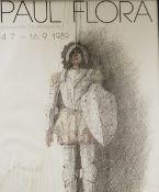 Paul Flora Ausstellungsplakat 1989, Druck, untere Seite Nässeschäden, Maße: 58,5x48 cm, gerah