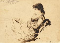 Sitzende Dame, Braune Feder, Signiert: L. Fabbron , Napoli 1842 , Größe: ca.17x12 cm
