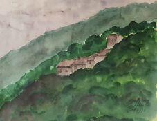 Landschaftsbildnis Montegrosse Toskana , Aquarell auf Papier , unlerserlich singniert , Datiert