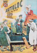 Autoloc Plakat , alte Reproduktion, teilweise beschmutztMaße: 59x44 cm, Ungerahmt<