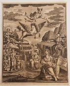 Gabriel Uhlich (1682-1741), Historie der Gelährheit ,Kupferstich , 18. Jahrhundert, Größe: 15
