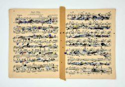 Ernst Friedrich (Hall/Tirol 1951 geb.) ohne Titel ,Feder Tusche, Farbkreide ,auf Notenblättern