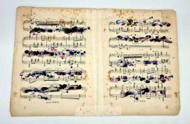 Ernst Friedrich (Hall/Tirol 1951 geb.) ohne Titel , Feder, Tusche ,Farbkreide auf Notenblättern