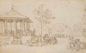 Adolphe Töpfer, Schweiz 1816, Pavillon mit tanzenden Paaren und weiteren Personen, Braune Feder