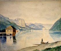 Fischer am See , Aquarell auf Kartonpapier, 1.Hälfte 20.Jhd , ungerahmt, Größe:21,5x26,5 cm,