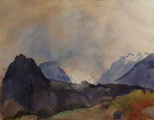 WIDMOSER Josef (Heimenkirch/Bayern 1911-1991 Innsbruck) , Bei Barwies/Mieminger Plateau , Aquar
