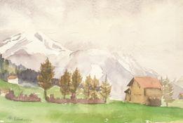 Andreas Einberger, Aquarell , Landschaft mit Gehöft , signiert: A. Einberger, Größe Passepart