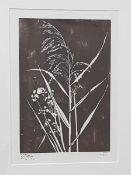 Feldgröso,Holzschnitt auf Japanpapier, Passepartoutausschnitt:16,5x24cm, unleserlich signiert,3