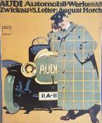 Audi Automobil- Werke m.b.H Zwickau, frühe Plakat Reproduktion, teilweise beschädigt und besch