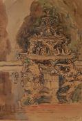Brunnen in Versailles, Aquarell auf Papier (später auf Karton befestigt), unlerserlich signiert